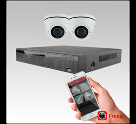 AK-2 Videoovervågning med 2 IP dome kamera og optager