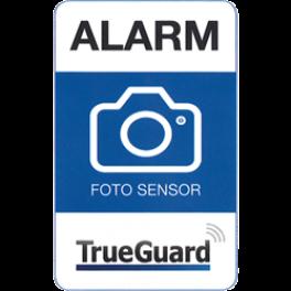 Alarm klistermærke med kamera TrueGuard. Tryk på begge sider