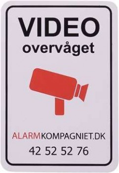 Videoovervåget klistermærke Alarmkompagniet.dk