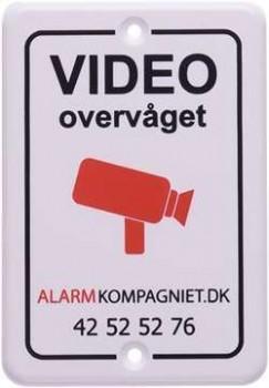 Videoovervåget skilt hård plast